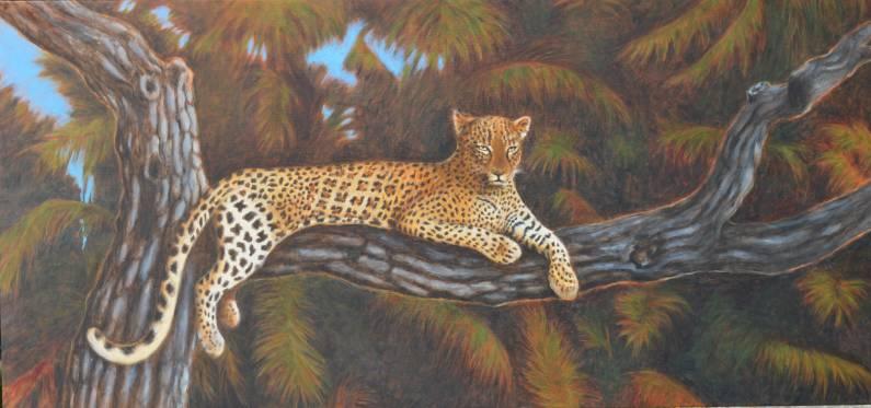 un leopardo sdraiato su um ramo